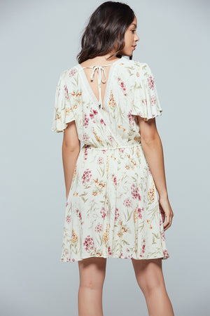 Agave Floral Flutter Sleeve Mini Dress Back