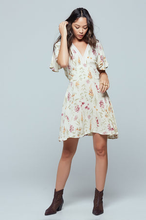 Agave Floral Flutter Sleeve Mini Dress Detail