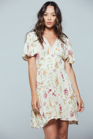 Agave Floral Flutter Sleeve Mini Dress Front