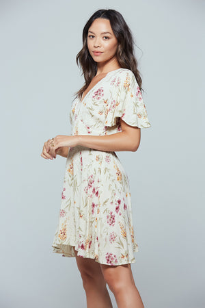 Agave Floral Flutter Sleeve Mini Dress Master