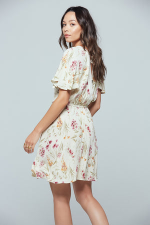 Agave Floral Flutter Sleeve Mini Dress Side