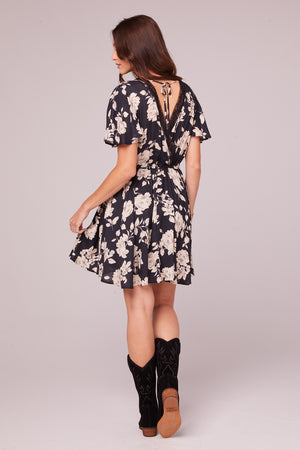 Agave Black and Ivory Flutter Sleeve Mini Dress Back