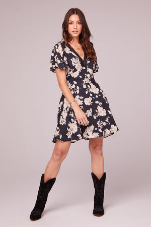 Agave Black and Ivory Flutter Sleeve Mini Dress Front