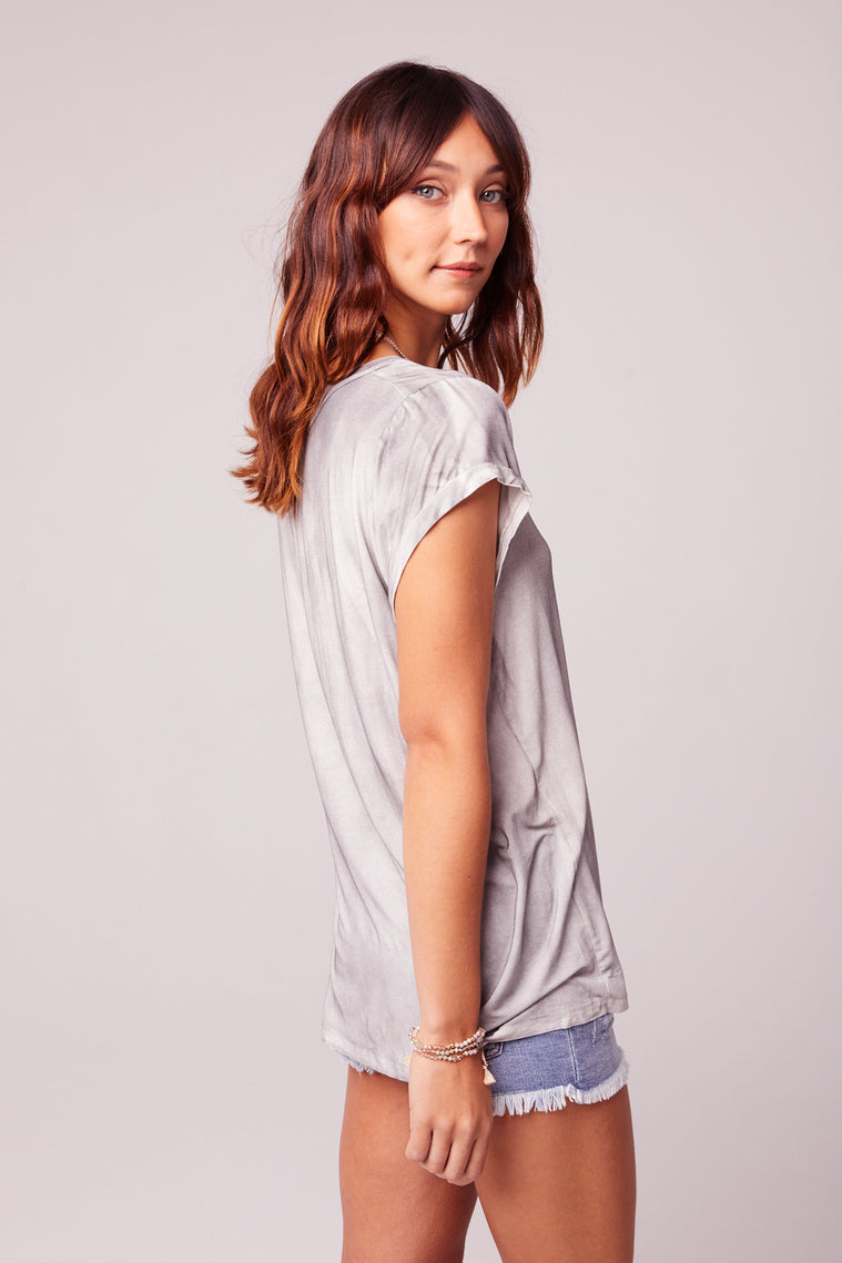 Airplane Mode Charcoal V-neck Tee Back