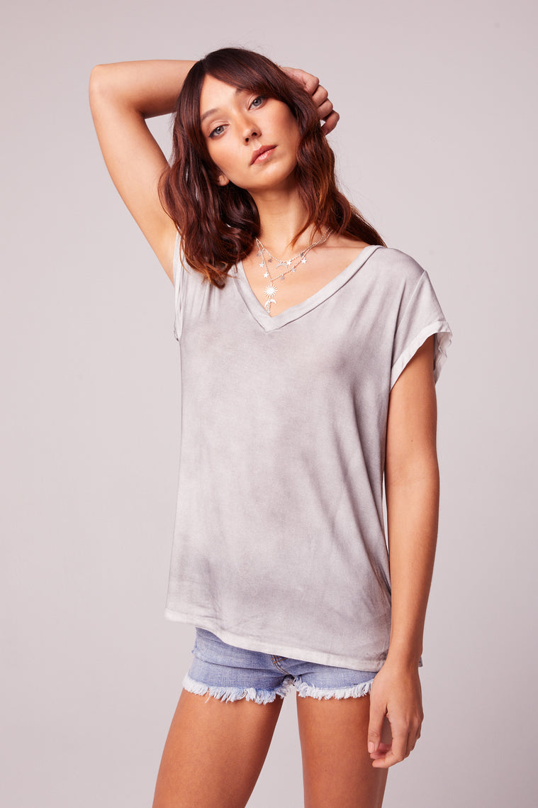Airplane Mode Charcoal V-neck Tee Side
