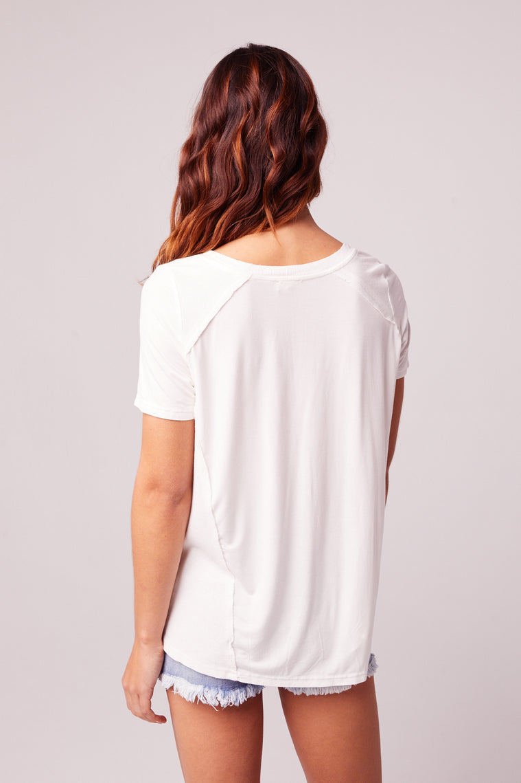 Airplane Mode Off White V-neck Tee Back