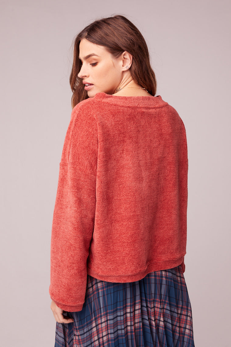 All My Love Coral Crew Neck Sweater Side