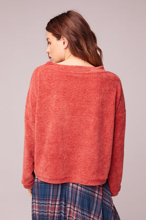 All My Love Coral Crew Neck Sweater BAck