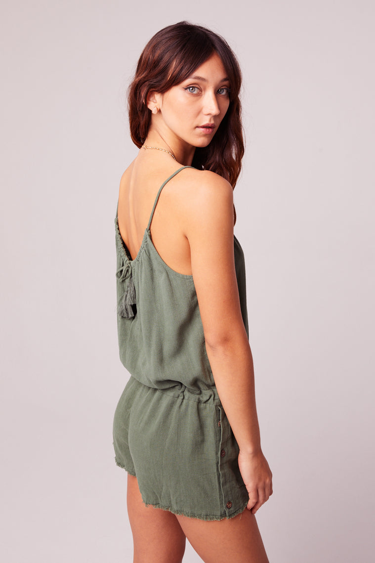 All Play Olive Woven Cami Romper Side Detail