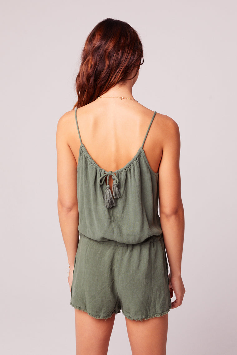 All Play Olive Woven Cami Romper Back