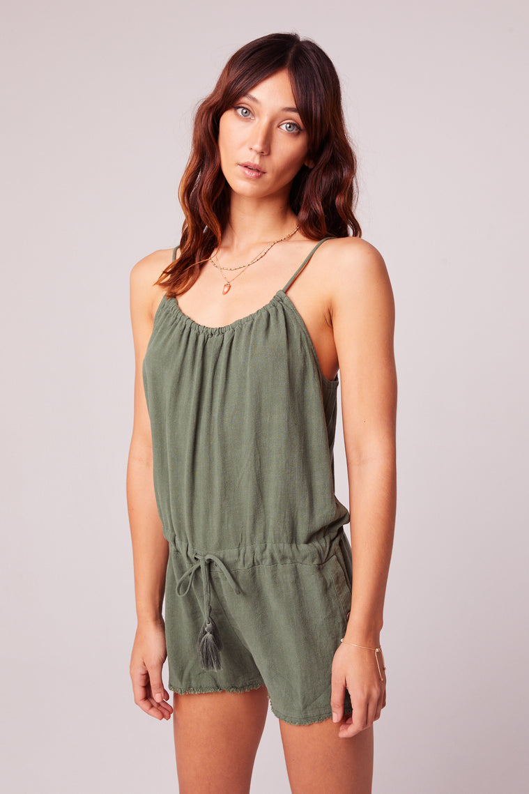 All Play Olive Woven Cami Romper Close