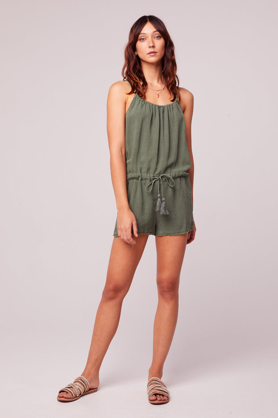 All Play Olive Woven Cami Romper Master