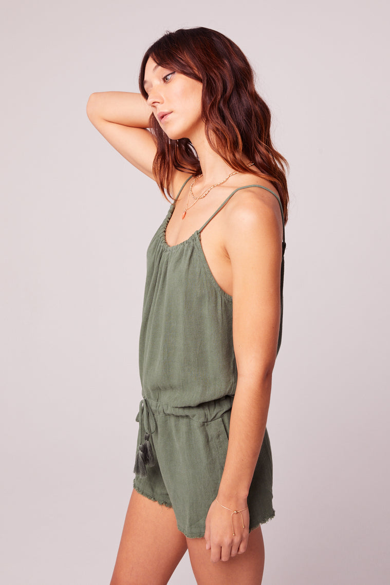 All Play Olive Woven Cami Romper side