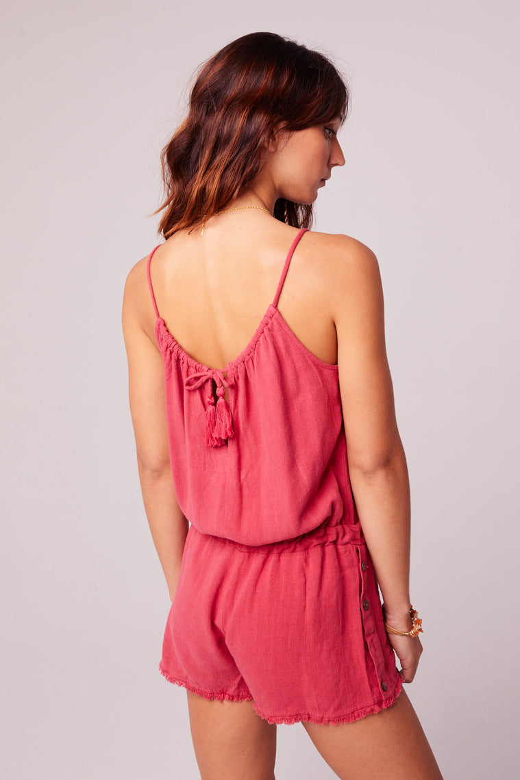 All Play Red Woven Cami Romper Back Detail