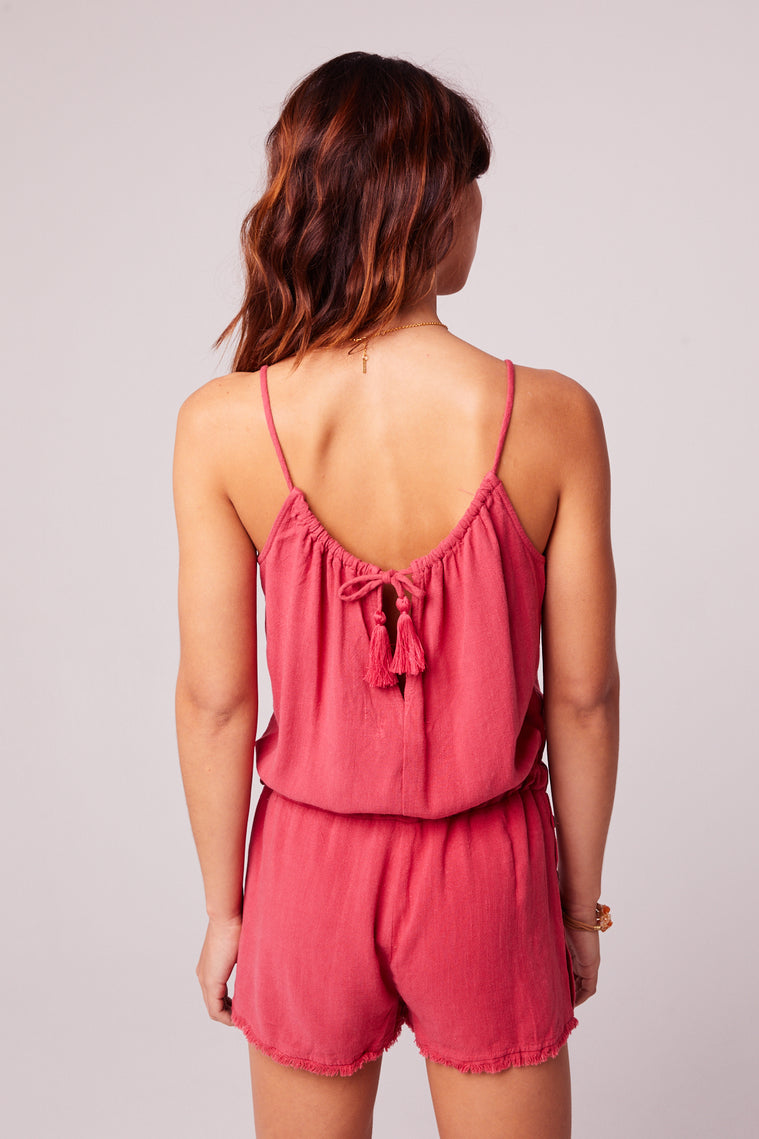All Play Red Woven Cami Romper Back