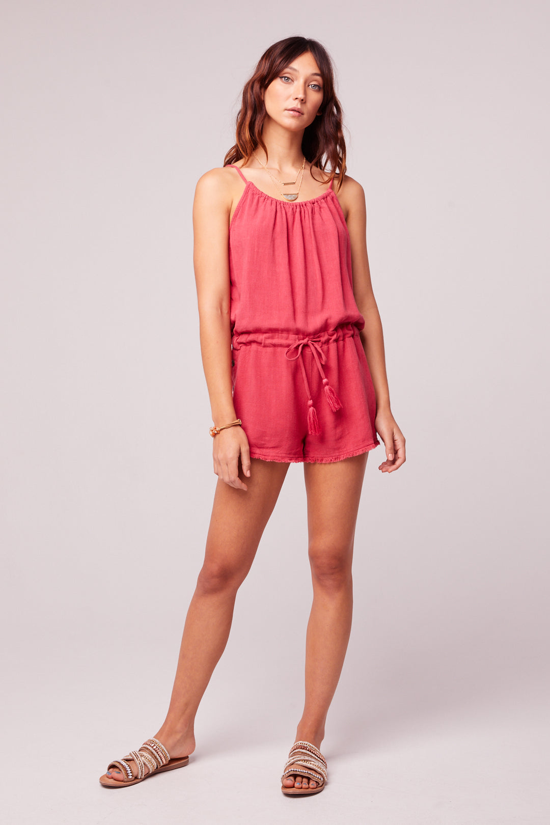 All Play Red Woven Cami Romper Master