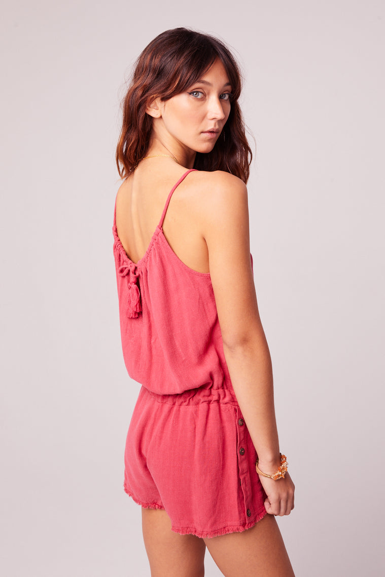 All Play Red Woven Cami Romper Side Detail