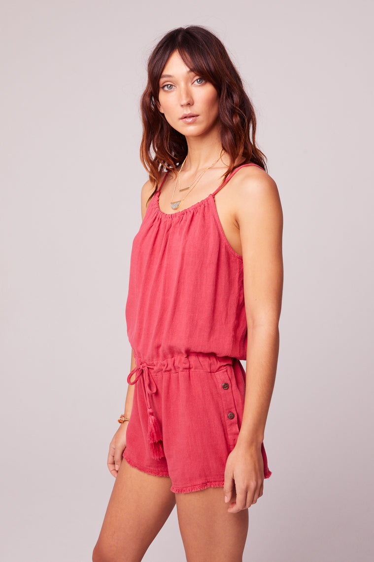 All Play Red Woven Cami Romper Side