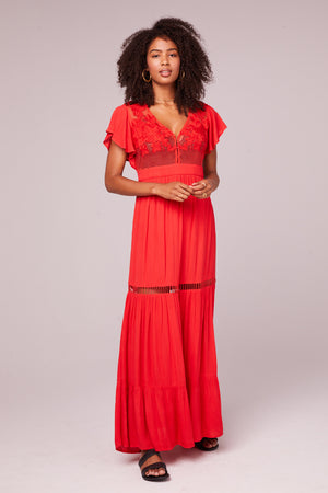All You Need Is Love Red Maxi Dress Front