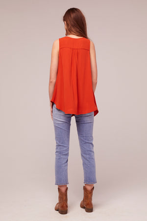 Amber Rust Tie Front A-Line Top Back