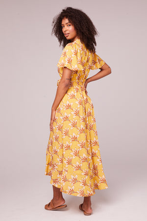 Amelie Golden Flutter Wrap Midi Dress Back