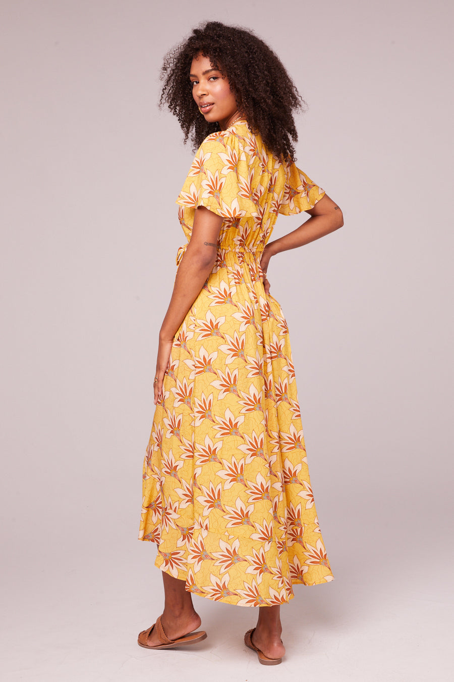 Amelie Golden Flutter Wrap Midi Dress Master