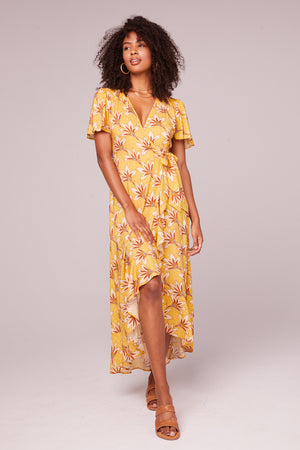 Amelie Golden Flutter Wrap Midi Dress Front