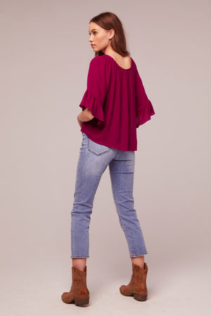 Amethyst Fuchsia tie Front Top Back