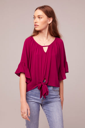 Amethyst Fuchsia tie Front Top Front