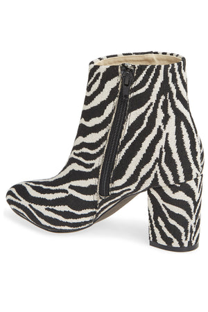 Andrea Black Zebra Woven Canvas Vegan Booties Back