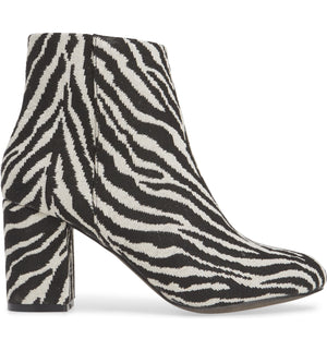 Andrea Black Zebra Woven Canvas Vegan Booties Side