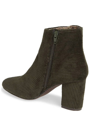 Andrea Forest Green Corduroy Vegan Ankle Booties Back