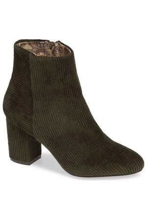 Andrea Forest Green Corduroy Vegan Ankle Booties Master