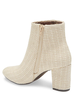 Andrea Natural Woven Canvas Vegan Booties Back