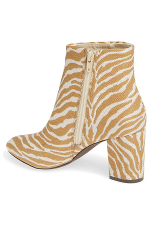 Andrea Natural Zebra Woven Canvas Vegan Booties Back