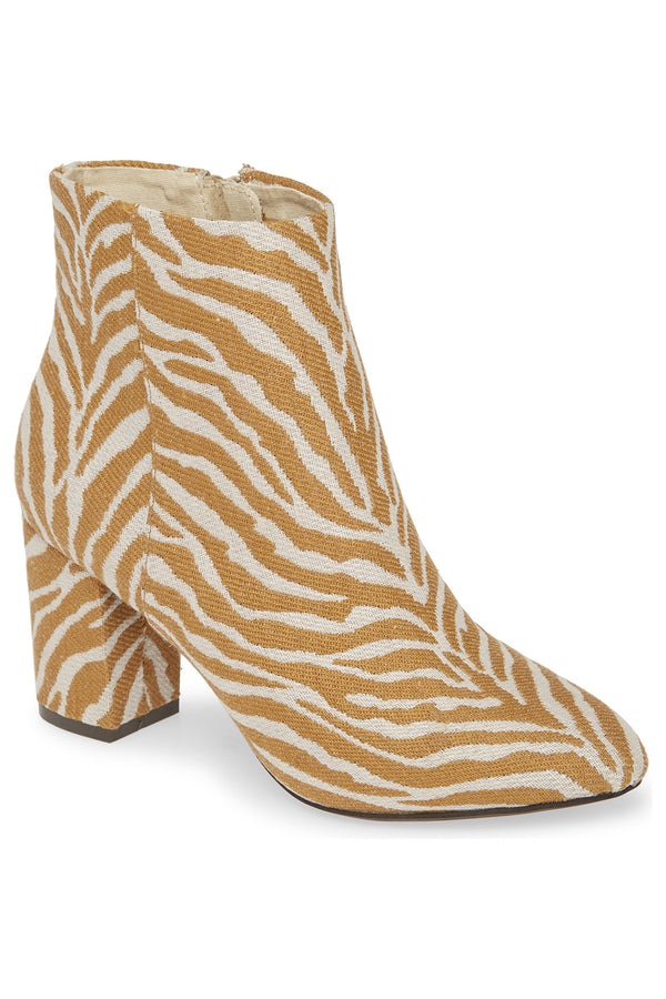 Andrea Natural Zebra Woven Canvas Vegan Booties Master