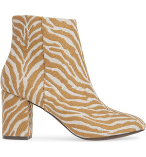 Andrea Natural Zebra Woven Canvas Vegan Booties Side