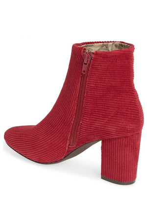 Andrea Red Corduroy Vegan Ankle Booties Back