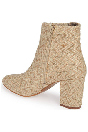 Andrea Sand Jute Woven Vegan Ankle Booties Back