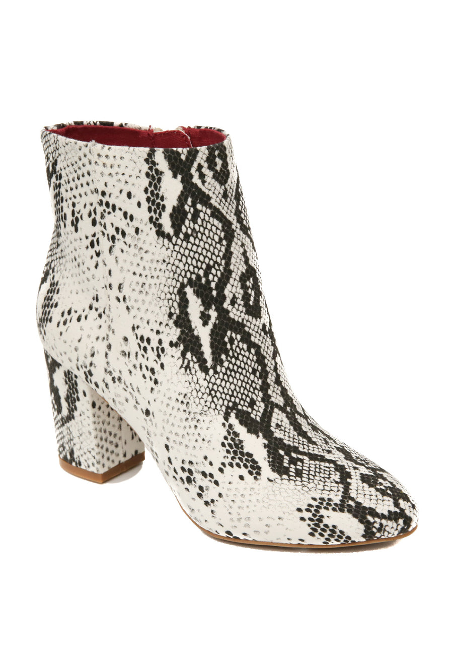 Andrea Micro Suede Snake Print White Vegan Booties Master
