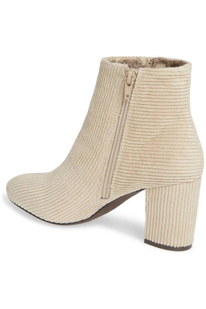 Andrea Corduroy Winter White Vegan Ankle Booties Back