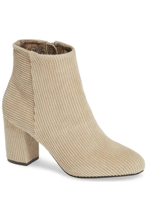 Andrea Corduroy Winter White Vegan Ankle Booties Master