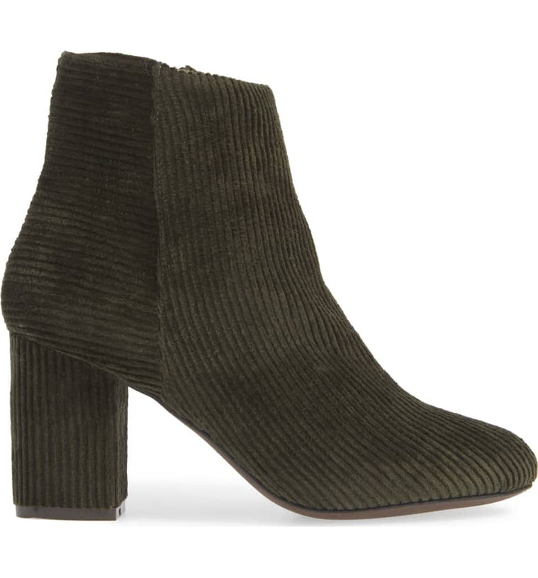 Andrea Forest Green Corduroy Vegan Ankle Booties Side