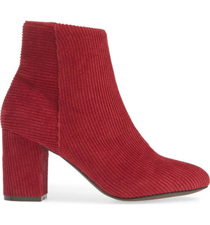 Andrea Red Corduroy Vegan Ankle Booties Side