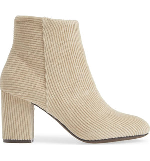 Andrea Corduroy Winter White Ankle Booties Side