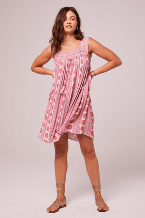 Anna Rose Medallion Babydoll Mini Dress Front