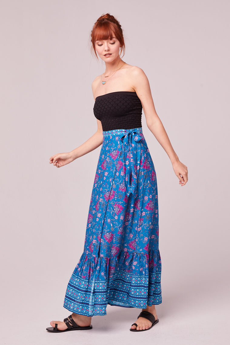 Aquamarine Border Print Wrap Maxi Skirt