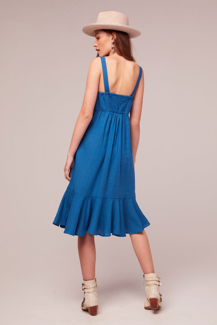 Aster Ruffle Hem Blue Linen Midi Dress Back