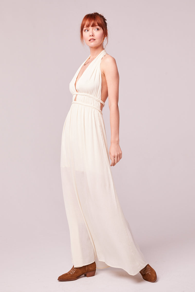 Athena Braided Halter Maxi Dress Side Detail