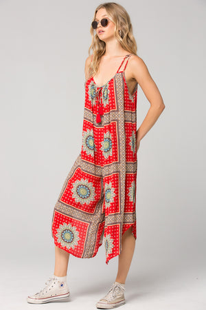 Athens Medallion Scarf Print Jumpsuit Side Detail